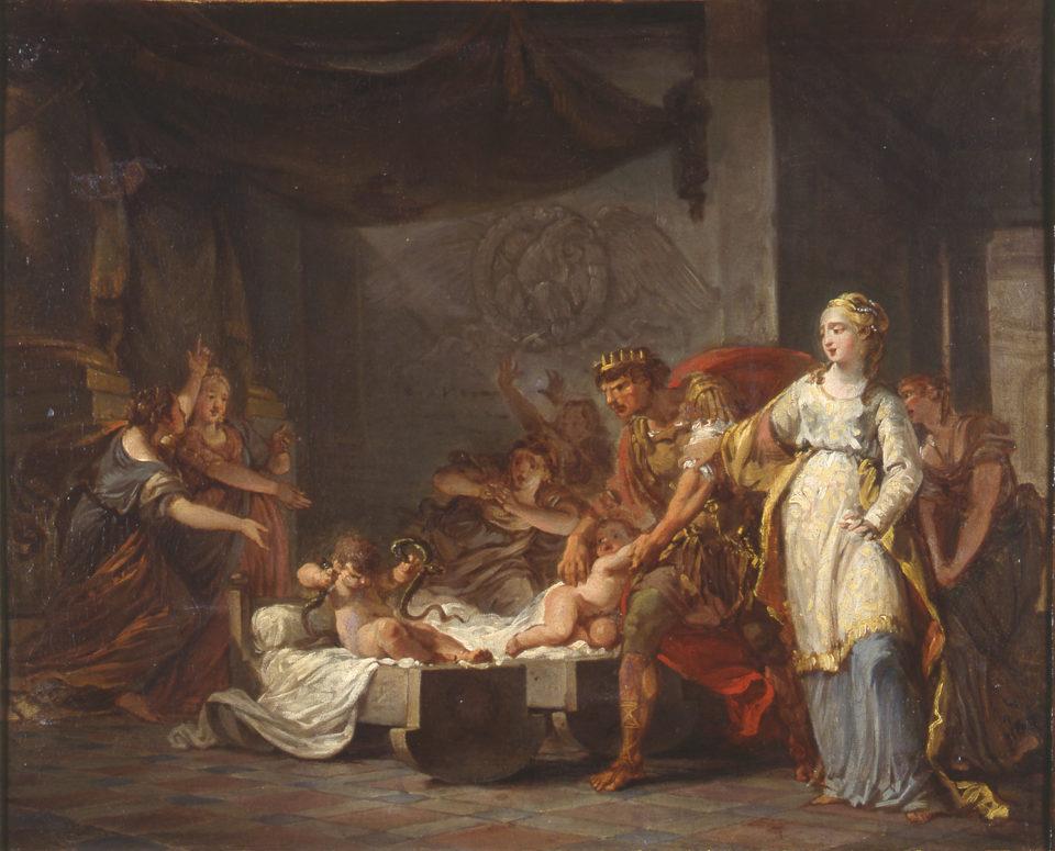 Hercule étouffant les serpents